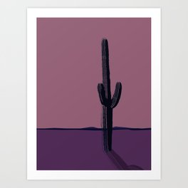 The Lonely Cactus - Dusk Art Print
