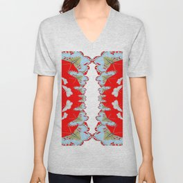 DESIGN PATTERN OF RED & WHITE BUTTERFLIES Unisex V-Neck