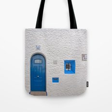 Blue door in Sitges Tote Bag