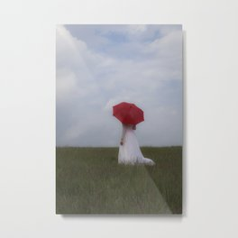 Bride with red umbrella Metal Print