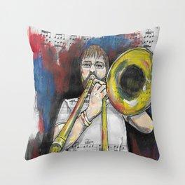 Jazz Trombone 2 Throw Pillow