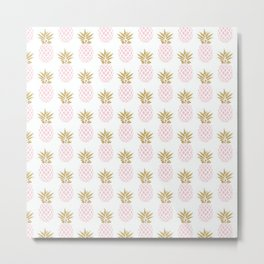 Elegant faux gold pineapple pattern Metal Print