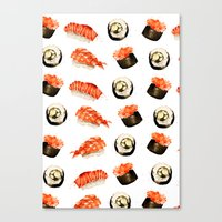 sushi Canvas Prints featuring Sushi by Jenny Viljaniemi