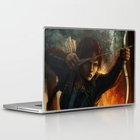 katniss Laptop & iPad Skins featuring Katniss Everdeen by Emily Doyle