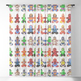 Superhero Gingerbread Man Sheer Curtain