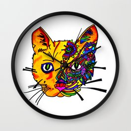 cat face in color Wall Clock