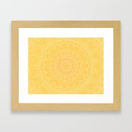 The Most Detailed Intricate Mandala (Mustard Yellow) Maze Zentangle Hand Drawn Popular Trending Framed Art Print