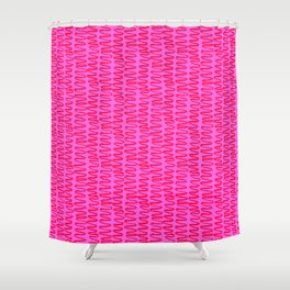 Pink and Red Squiggle Pattern Shower Curtain