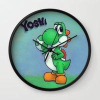 yoshi Wall Clocks featuring Yoshi by belindazart