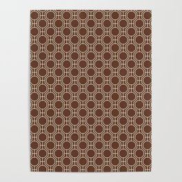 Mid-Century Modern Octagon Pattern , Brown and White Poster