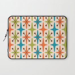 Mid Century Modern Abstract Star Pattern 441 Orange Brown Turquoise Chartreuse Laptop Sleeve