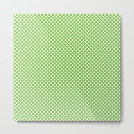 Jasmine Green and White Polka Dots Metal Print