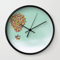 couple Wall Clocks featuring Up by Derek Temple