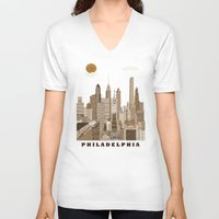 philadelphia V-neck T-shirts featuring Philadelphia skyline vintage by bri.buckley