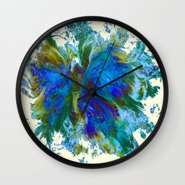 Butterflies are free in teal, blue, green and cream Wall Clock