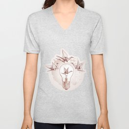Origami paper cranes and light Unisex V-Neck