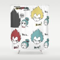 vegeta Shower Curtains featuring Primary Colors with Vegeta by AlyTheKitten