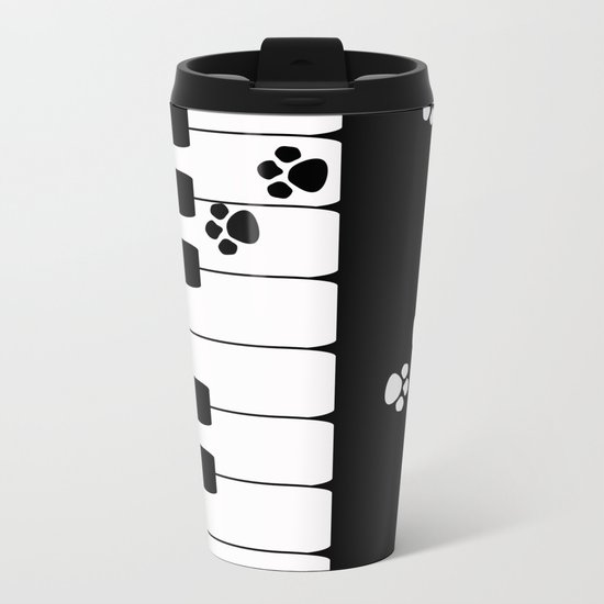 The keys of the piano . Creative black and white pattern . Metal Travel Mug
