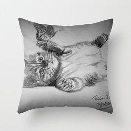 Kitten catching the butterfly Throw Pillow