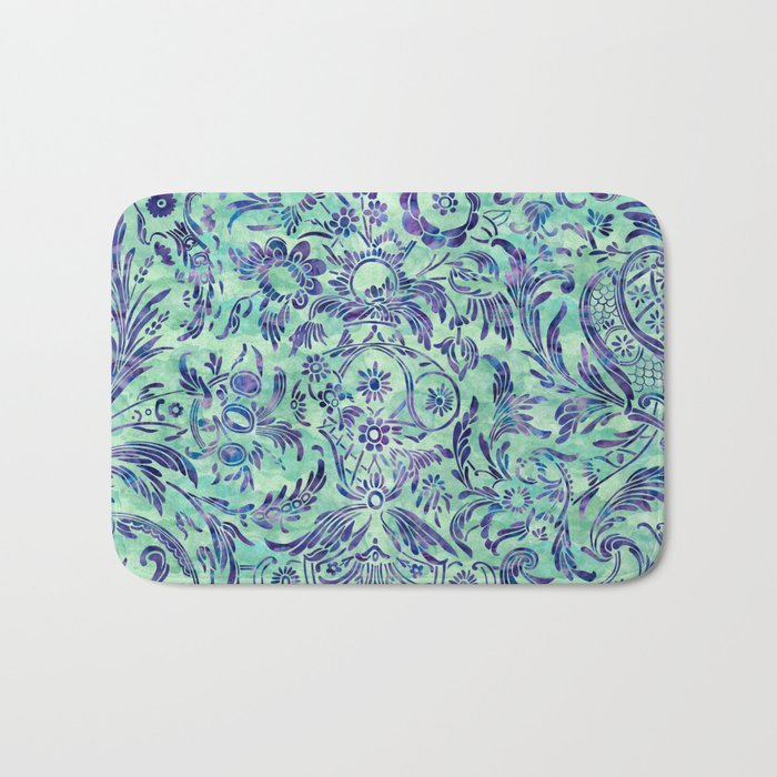 Watercolor Damask Pattern 06 Bath Mat