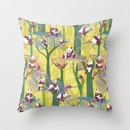 Both Species of Panda - Yellow Throw Pillow