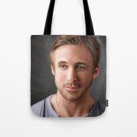 ryan gosling Tote Bags featuring Ryan Gosling by Mailys Brau