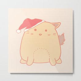 Cute little cat with santa hat Metal Print