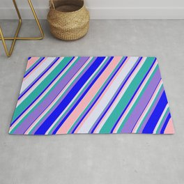 Colorful Blue, Light Pink, Lavender, Light Sea Green & Purple Colored Lined/Striped Pattern Rug