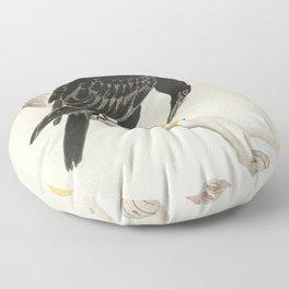 Crow eating persimmon Fruit - Vintage Japanese Woodblock Print Art Floor Pillow