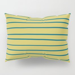 Tropical Dark Teal Simple Minimal Hand Drawn Horizontal Line Pattern 3 Inspired by Sherwin Williams 2020 Trending Color Oceanside SW6496 on Dark Yellow Pillow Sham
