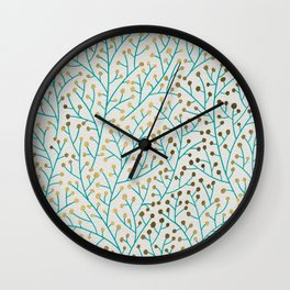 Berry Branches – Turquoise & Gold Wall Clock