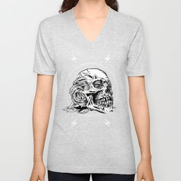 Skullflower Black and White  Unisex V-Neck