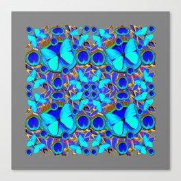 Abstract Decorative Aqua Blue Butterflies On Charcoal Grey Art Canvas Print