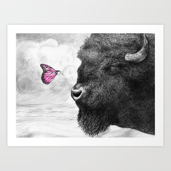 Bison and Butterfly Art Print