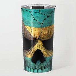 Dark Skull with Flag of Bahamas Travel Mug