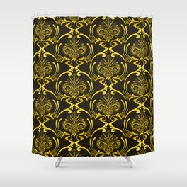 Classic and Classy Art Deco Gold Grandeur Pattern Shower Curtain
