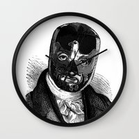 wrestling Wall Clocks featuring WRESTLING MASK 7 by DIVIDUS