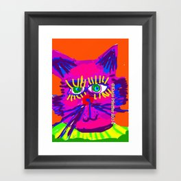 Pop Art Cat Head Framed Art Print