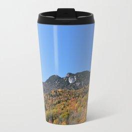 Autumn Forest under a Blue Sky, Vertical Travel Mug