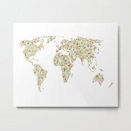 World Map Floral Watercolor Metal Print
