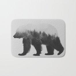Brown Bear (black & white version) Bath Mat