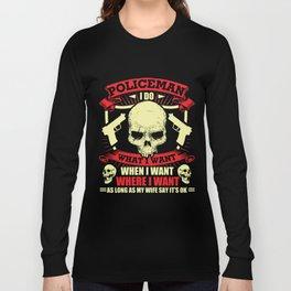 Policeman T-Shirt Proud Policeman Skull Graphic Clothing Long Sleeve T-shirt