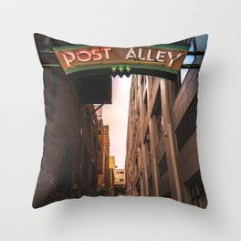 Post Alley in Seattle Washington Throw Pillow
