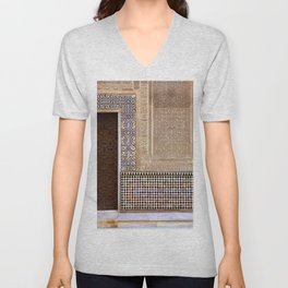Alhambra Palace. Patio Del Cuarto Dorado Door Unisex V-Neck