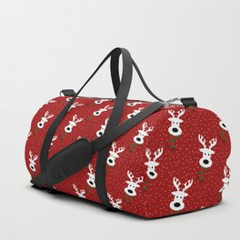 Reindeer in a snowy day (red) Duffle Bag