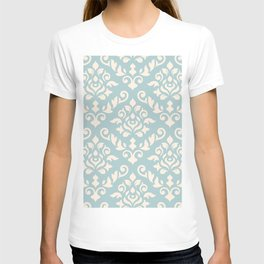 Damask Baroque Pattern Cream on Blue T-shirt