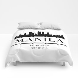 MANILA PHILIPPINES BLACK SILHOUETTE SKYLINE ART Comforters