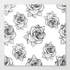 Rose Line Pattern Canvas Print