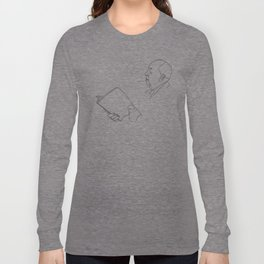 Alfred Hitchcock Minimal Line Drawing Long Sleeve T-shirt
