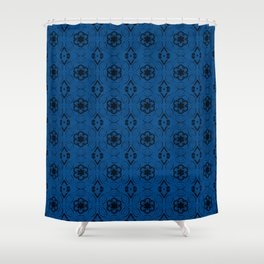 Lapis Blue Floral Geometric Pattern Shower Curtain